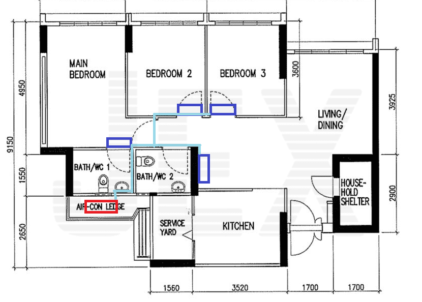 typical hdb aircon and piping layout
