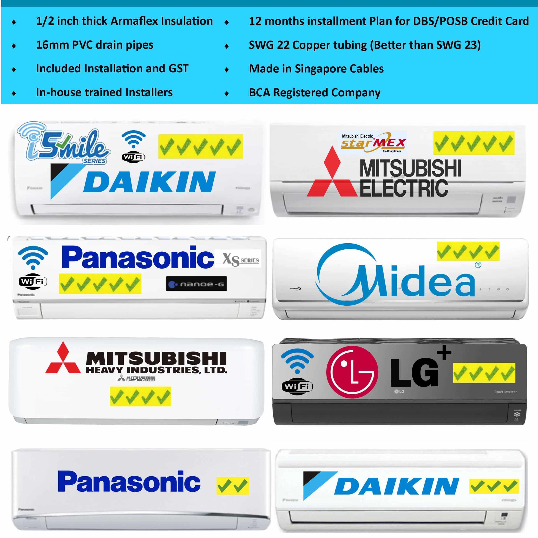 Aircon installation Singapore Mitsubishi Aircon Daikin Midea Aircon Panasonic LG artcool toshiba mitsubishi heavy industries